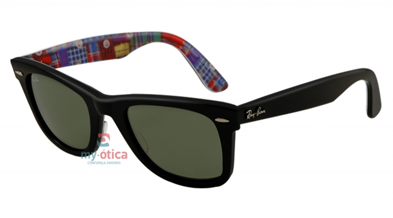 77f8d9053 Óculos de Sol Ray Ban ORIGINAL WAYFARER RETALHOS - Série Especial #10 -  Preto e Retalho Xadrez