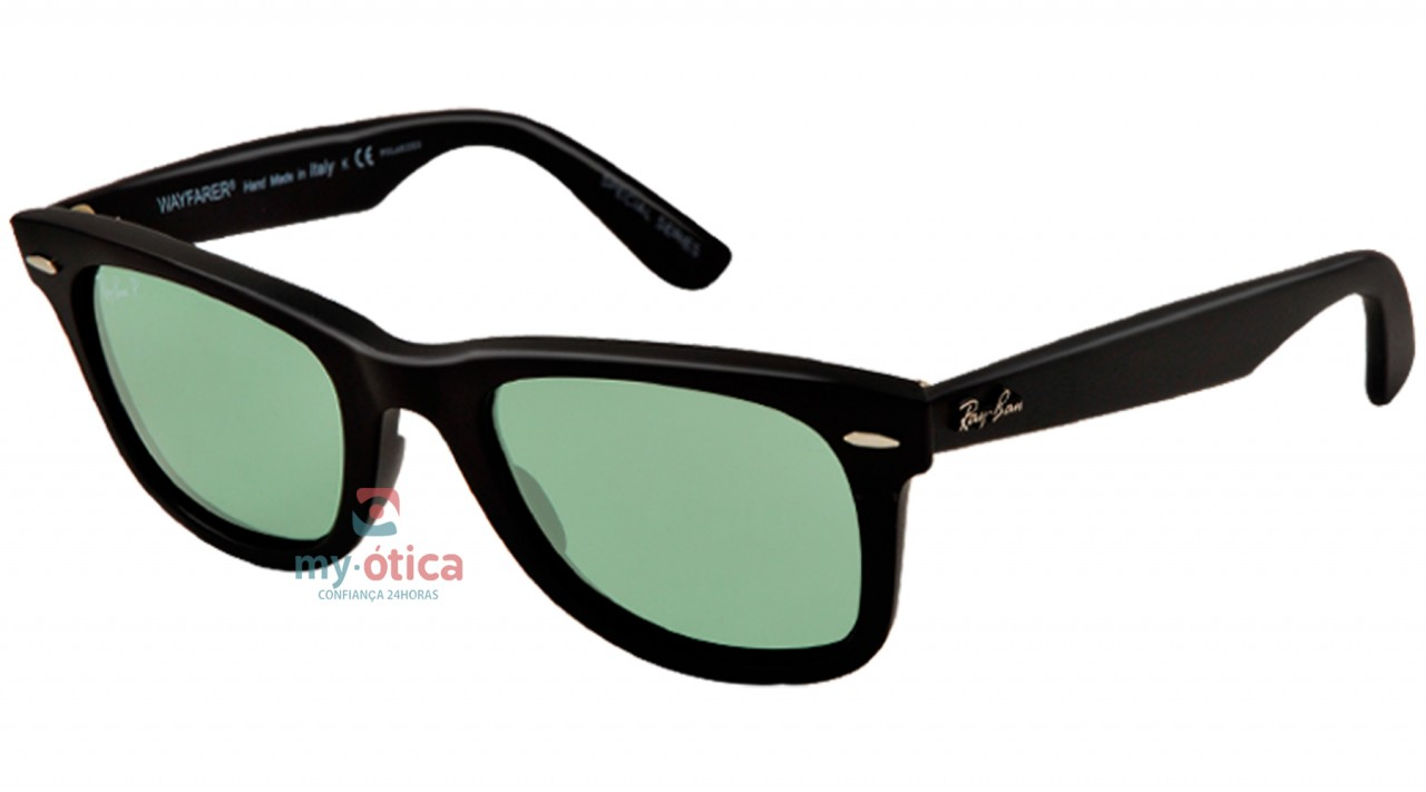 a91301343d61e Óculos de Sol Ray Ban ORIGINAL WAYFARER Polarizado - Preto - Verde ...