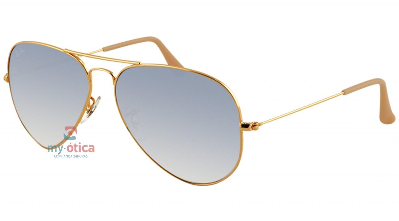 Óculos de Sol Ray Ban AVIATOR LARGE METAL - Dourado Lente Azul Degradê 55-14 8d7fb4bbf1