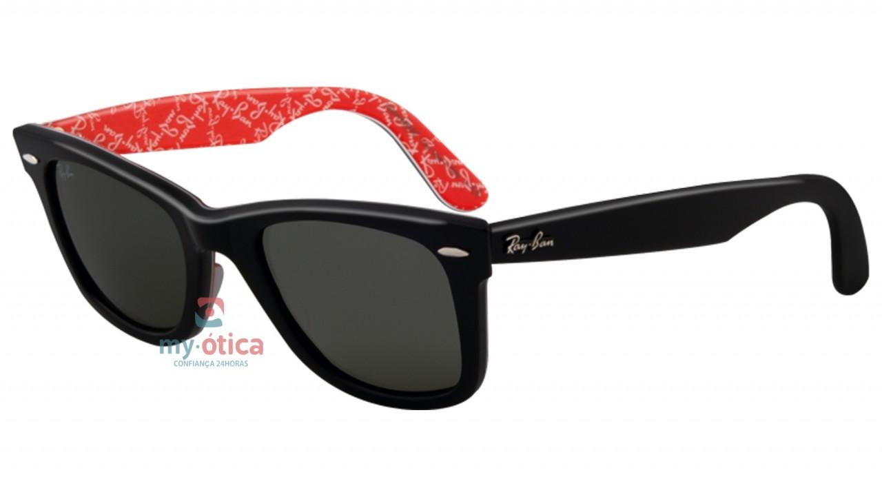 06e79ec8d1e91 Óculos de Sol Ray Ban RB 2140 Wayfarer - Preto e Vermelho - Óculos ...