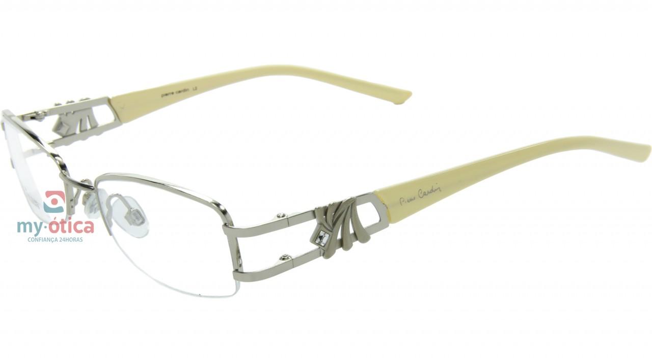 702e8fbe5 Óculos de Grau Pierre Cardin 1725 - Prata e Amarelo - Óculos ...