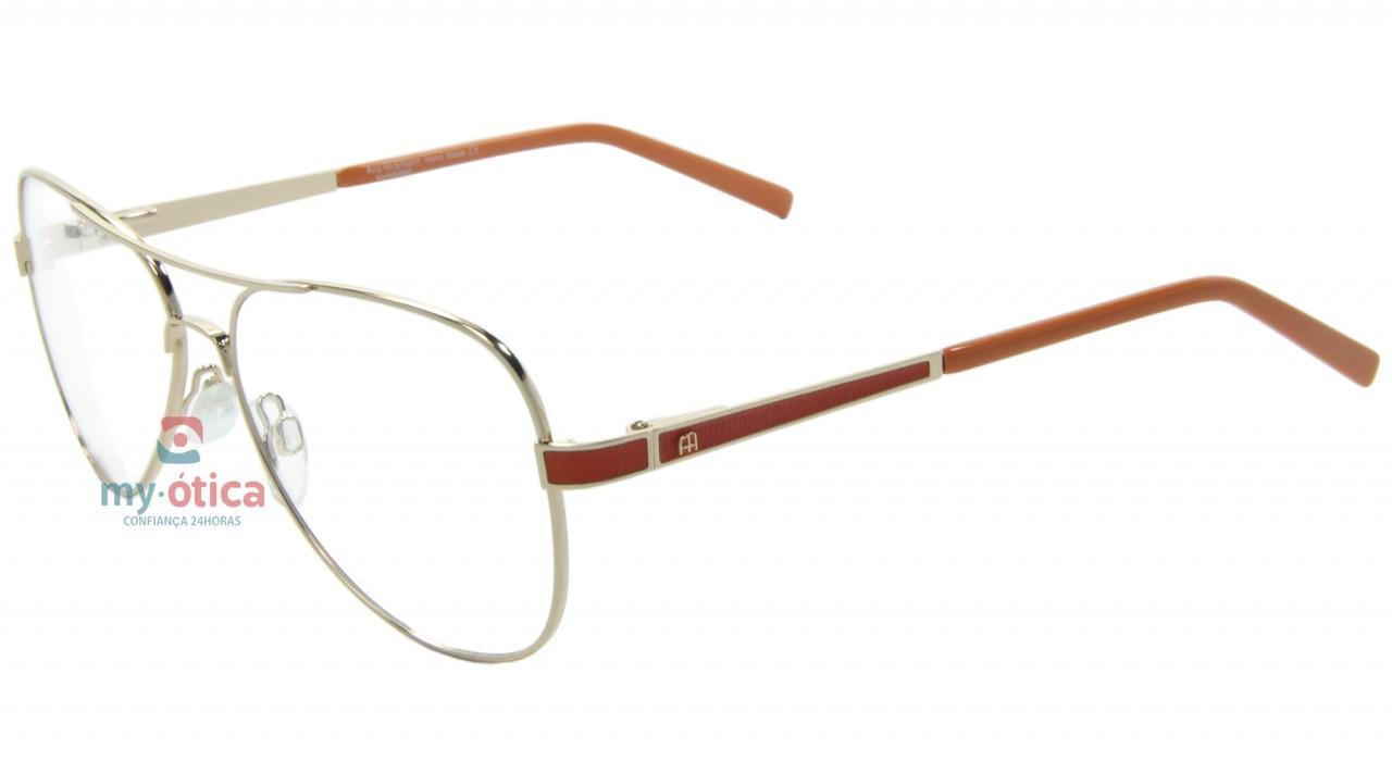 Oculos De Grau Ana Hickmann Ah1206s Dourado E Laranja Oculos