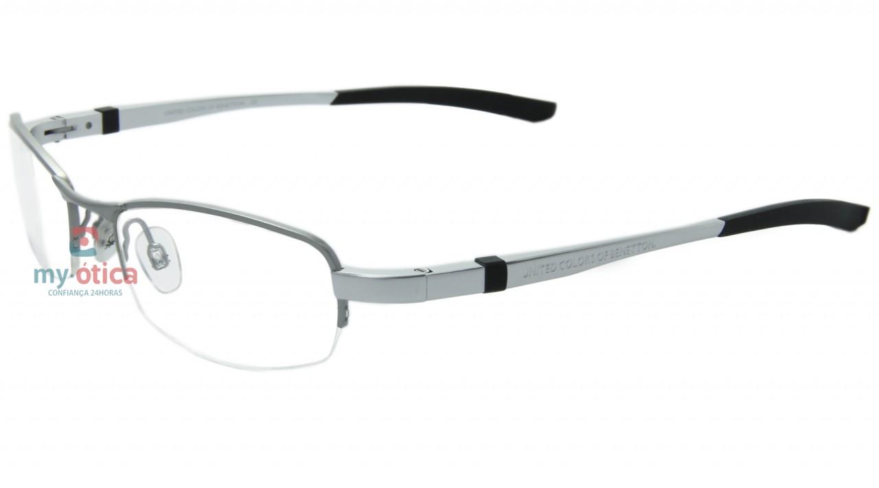 e760f7e45 Óculos de Grau Benetton 8027 - Cinza Fosco e Preto - Óculos ...