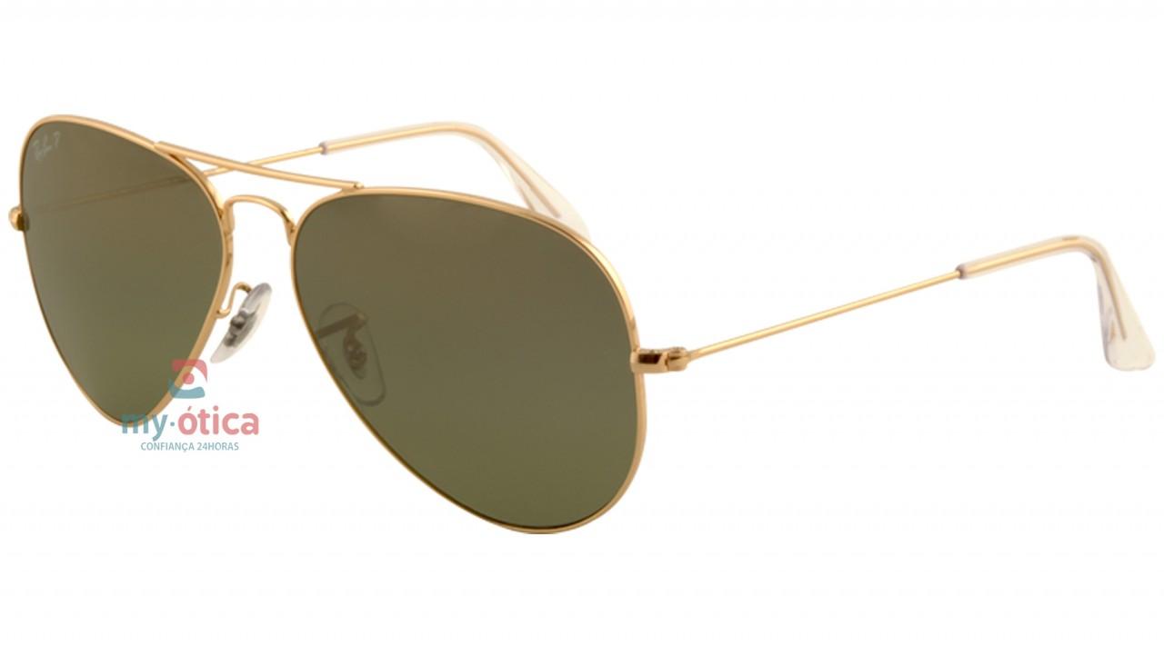 Óculos de Sol Ray Ban AVIATOR LARGE METAL - Dourado Brilho Lente Polarizada  Verde 58-14 c8f31bc37d