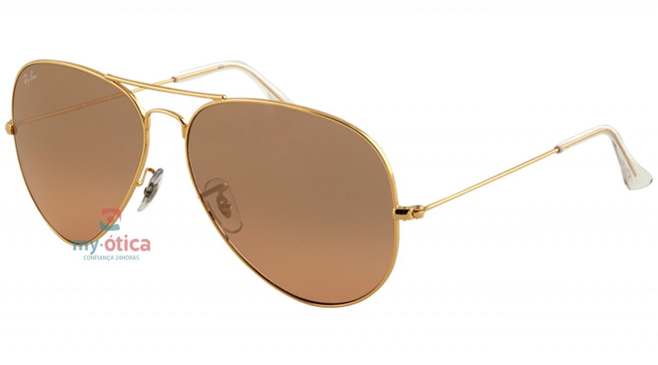 Óculos de Sol Ray Ban AVIATOR LARGE METAL - Dourado Brilho Lente Marrom  58-14 1de20d98ec