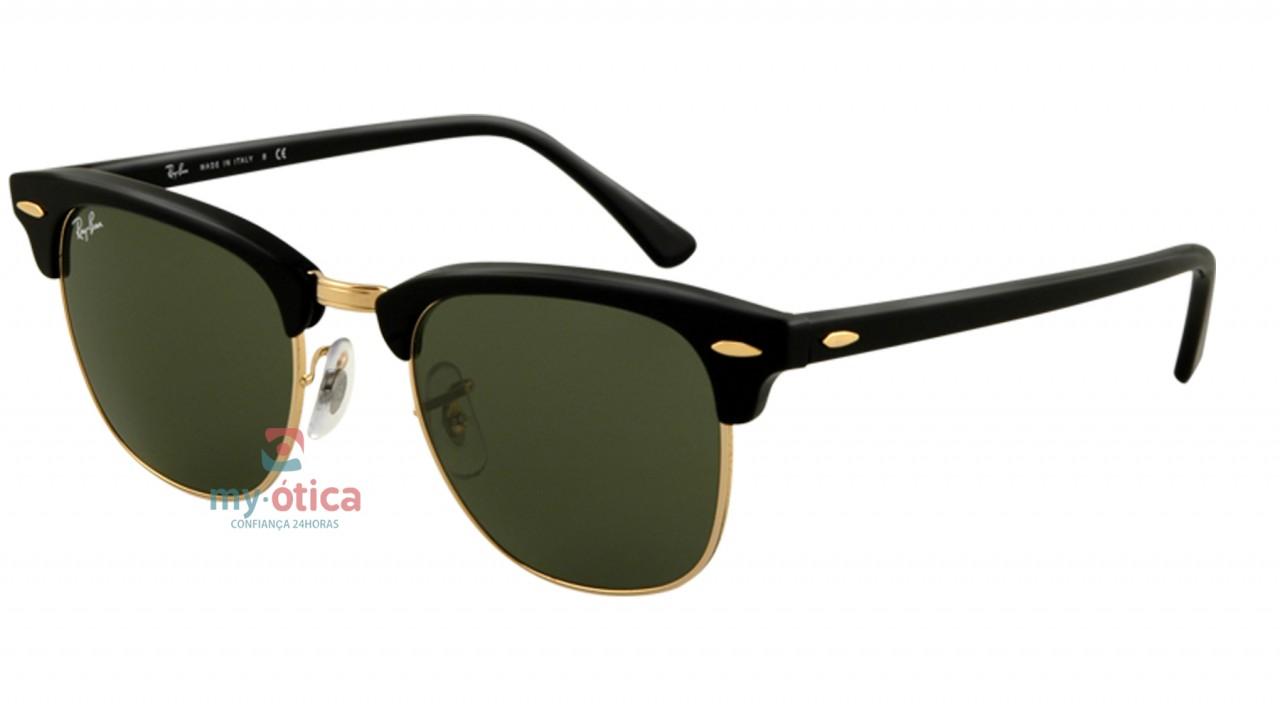 Óculos de Sol Ray Ban RB 3016 Clubmaster - Dourado e Preto - Óculos ... 52666c1e7f