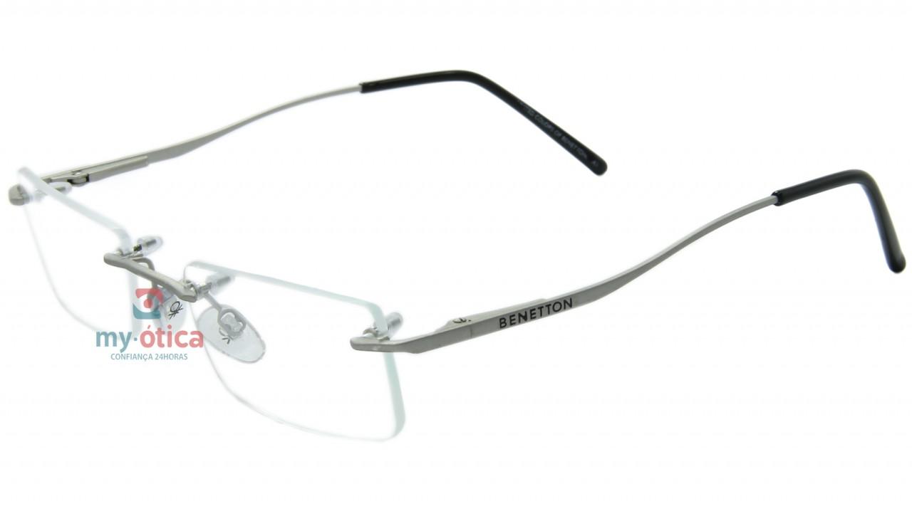 a014b9675 Óculos de Grau Benetton B91004 - Cinza Fosco e Preto - Óculos ...