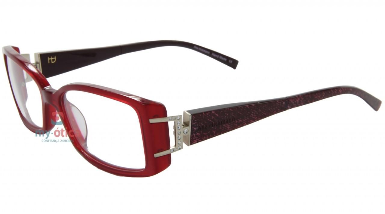 Oculos De Grau Ana Hickmann Ah6120 Vermelho E Vinho Oculos
