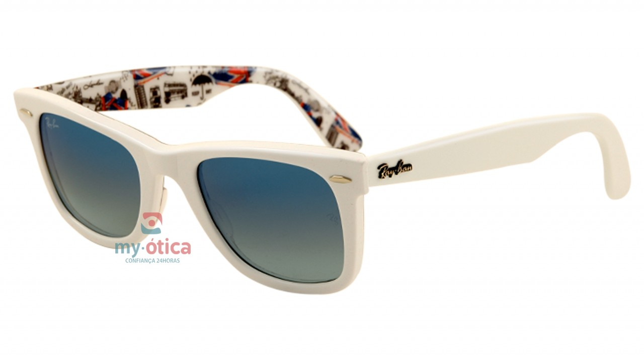 f8dc8d526 Óculos de Sol Ray Ban ORIGINAL WAYFARER LONDRES - Série Especial #8 - Branco  e Londres