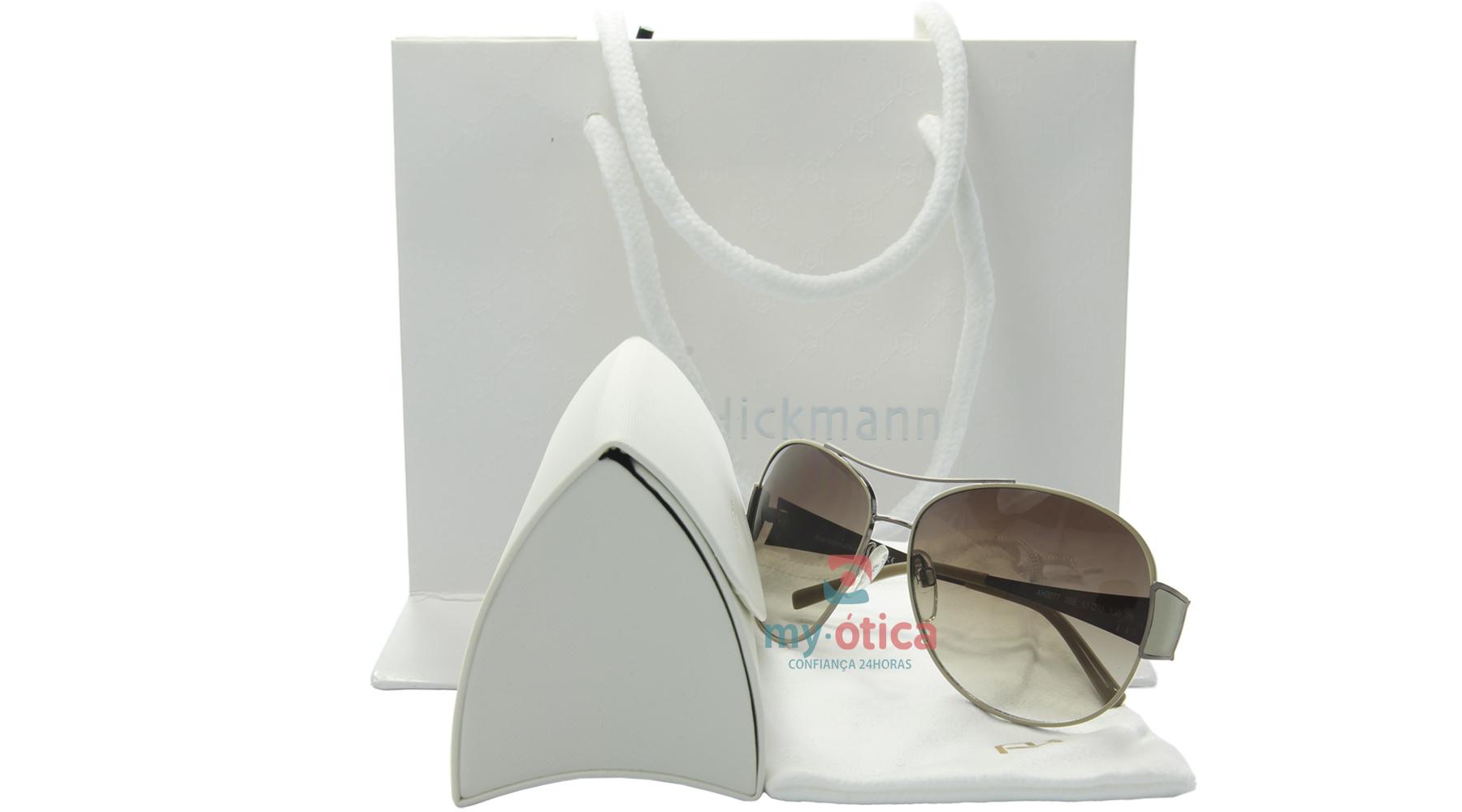 Óculos de Sol Ana Hickmann AH3077 - Prata e Bege - Óculos - Ana ... 546c1ddad1