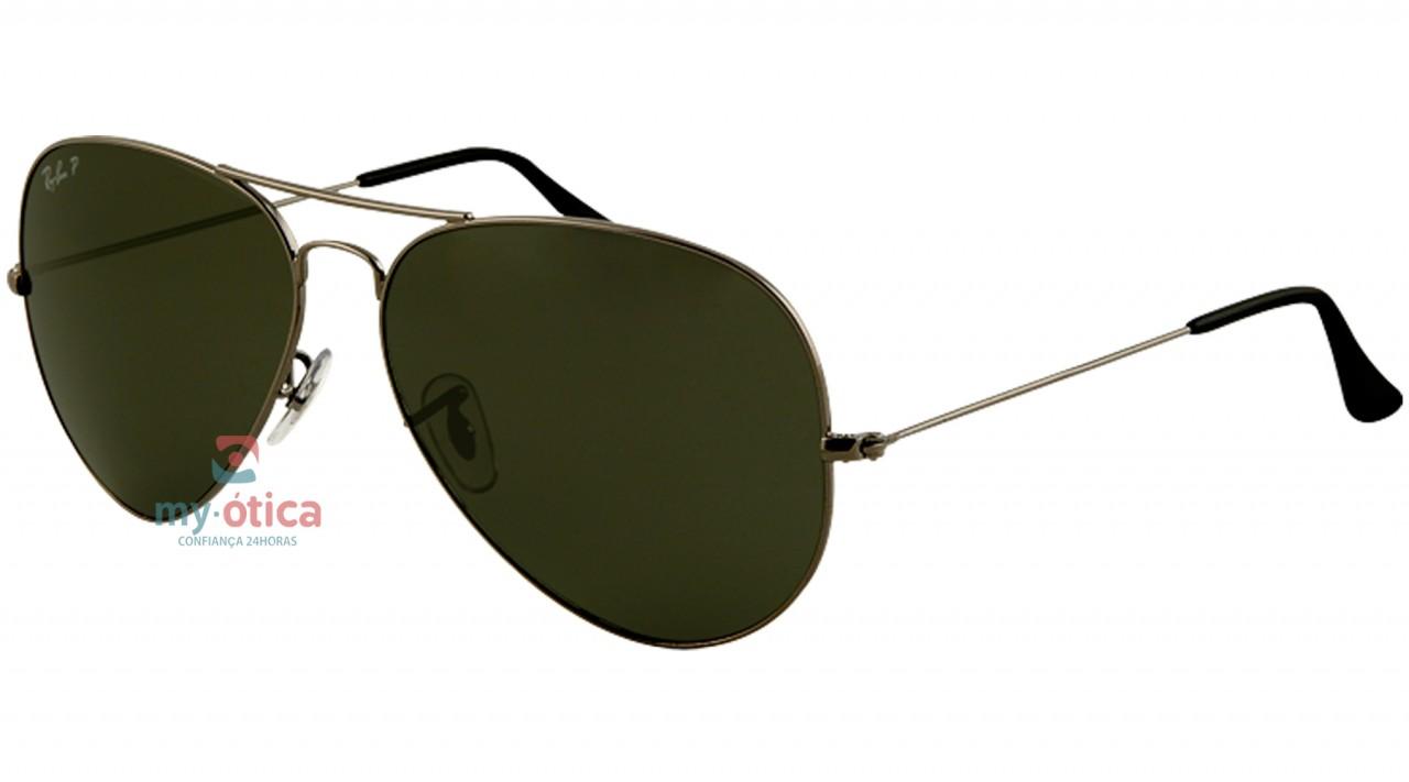 Óculos de Sol Ray Ban AVIATOR LARGE METAL - Cinza Lente Polarizada Verde 58- 14 d70fba513a