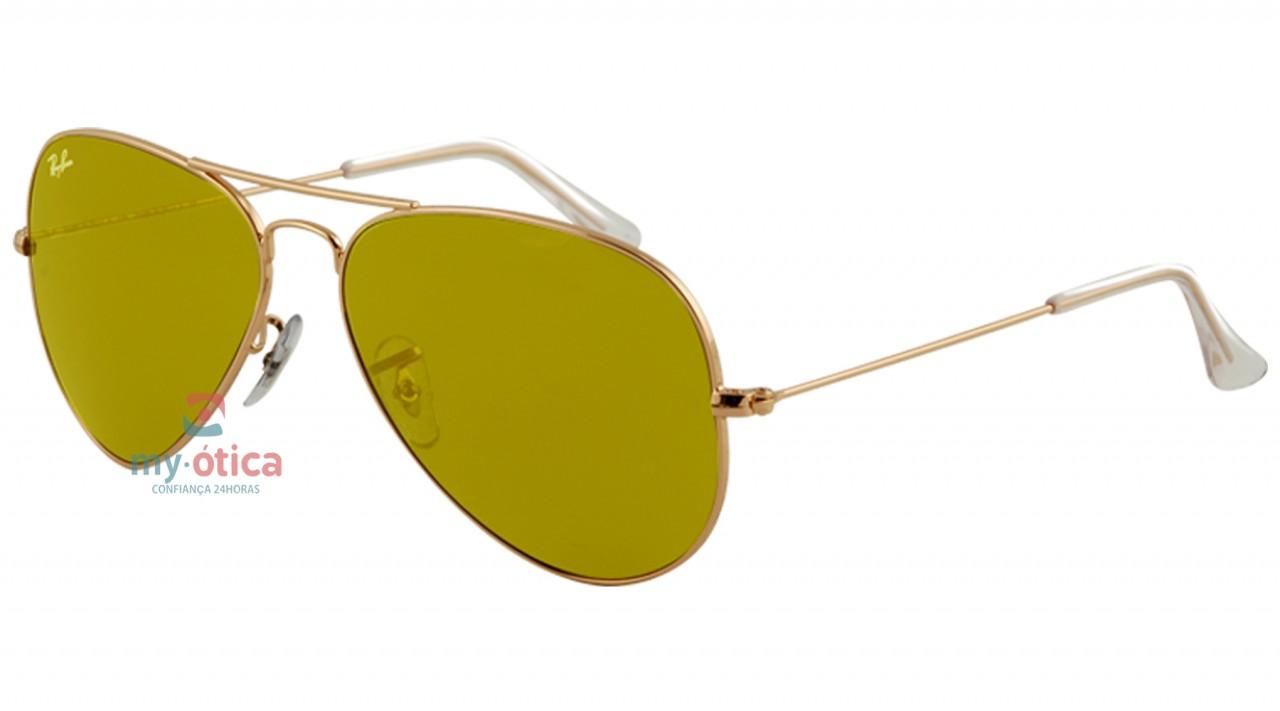 Óculos de Sol Ray Ban 3025 Aviator Large Metal - Dourado Lente Ouro ... 5c812c6370