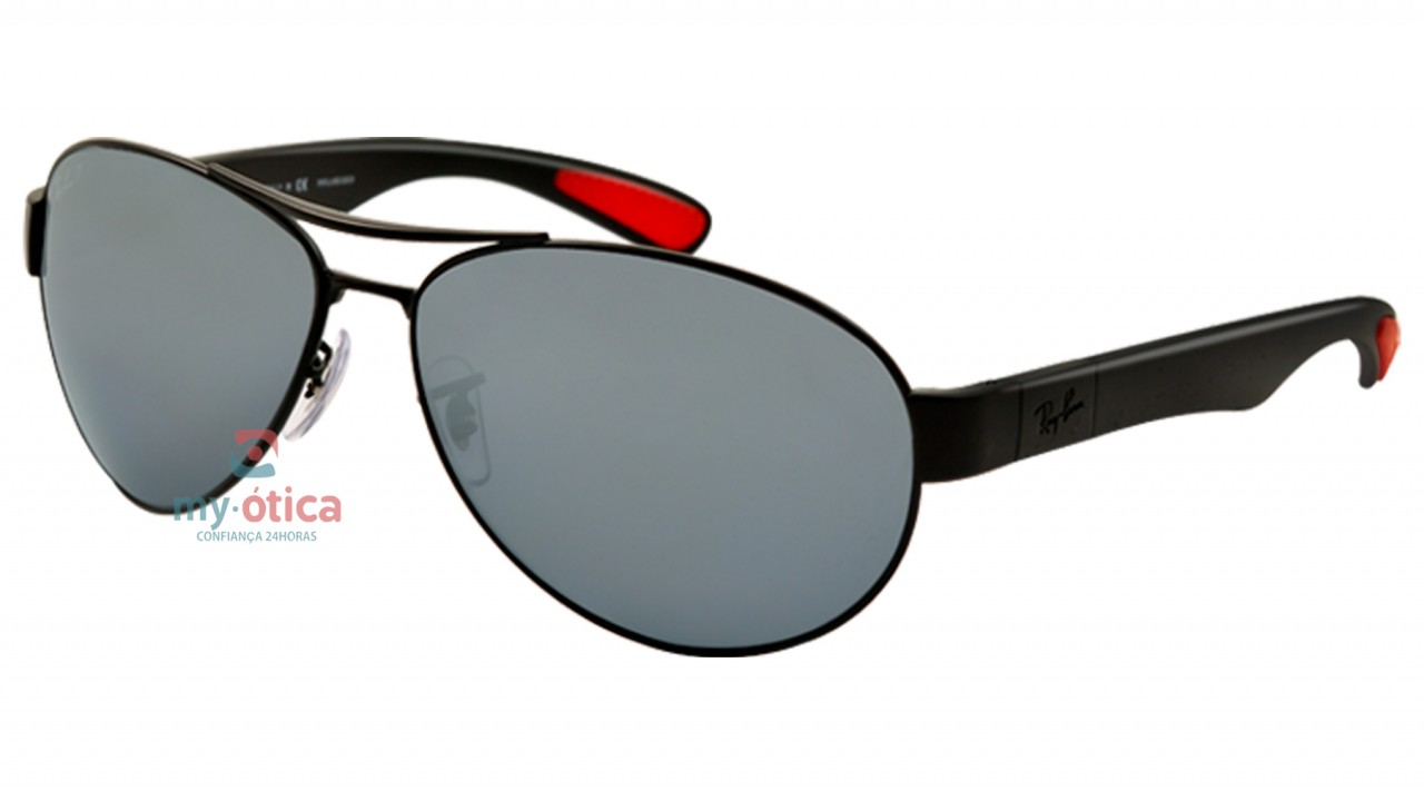 a255a2154fbb9 Óculos de Sol Ray Ban RB 3509 - Preto e Vermelho Polarizado - Óculos ...