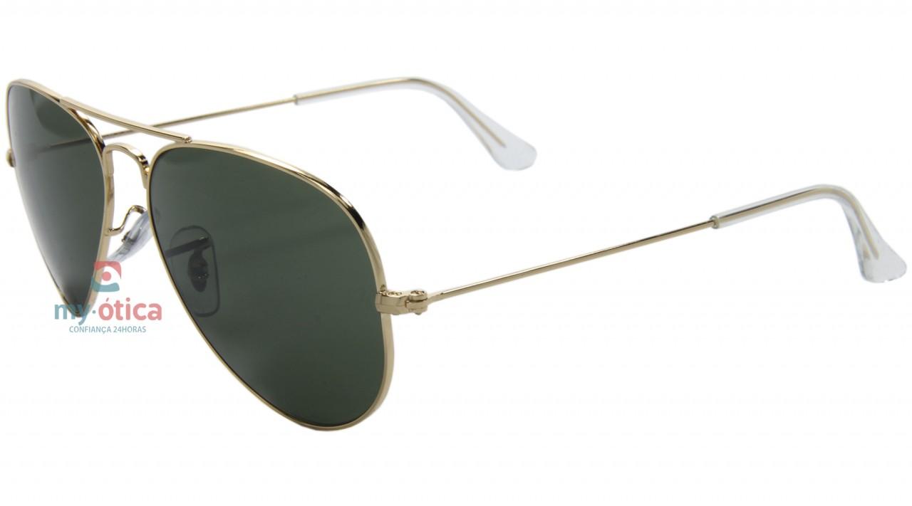 Óculos de Sol Ray Ban 3025 Aviator Large Metal - Dourado Lente Verde ... 7610b50801