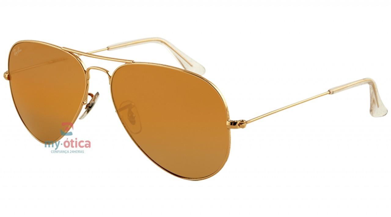 Óculos de Sol Ray Ban AVIATOR LARGE METAL - Dourado Lente Amarela Degradê  58-14 0e1f9e3954